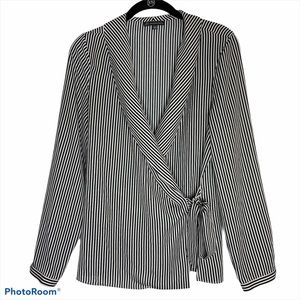 Adrianna Papell Wrap Blouse Long Sleeve Pinstripe